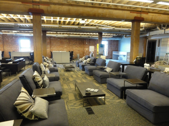 Rows of couches forms more casual work area at Yammer