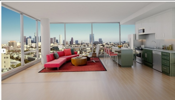 Rendering of the Great Room in the New Highrise Apartments At Wilshire and Vermont