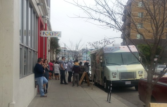 People lined up for icecream in the Art District